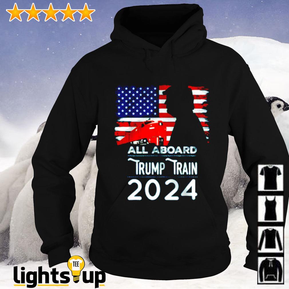 All aboard Trump train 2024 American flag Hoodie
