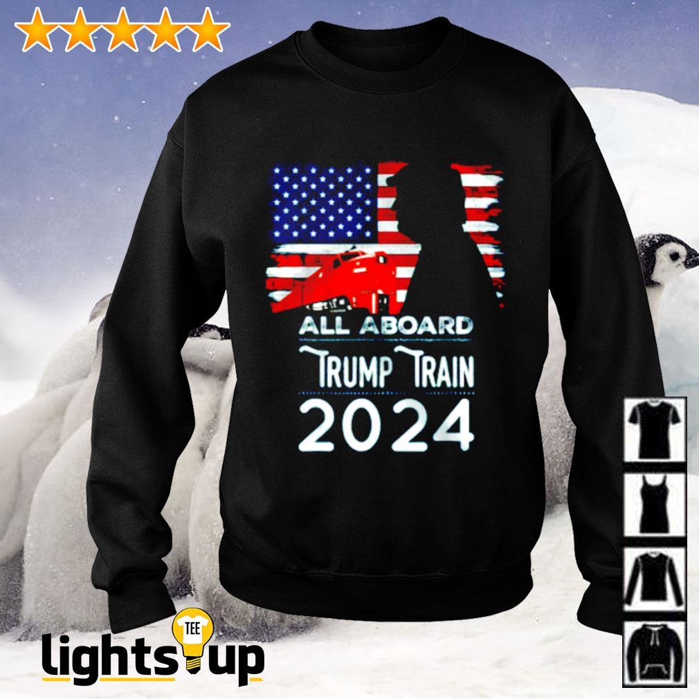 All aboard Trump train 2024 American flag Sweater