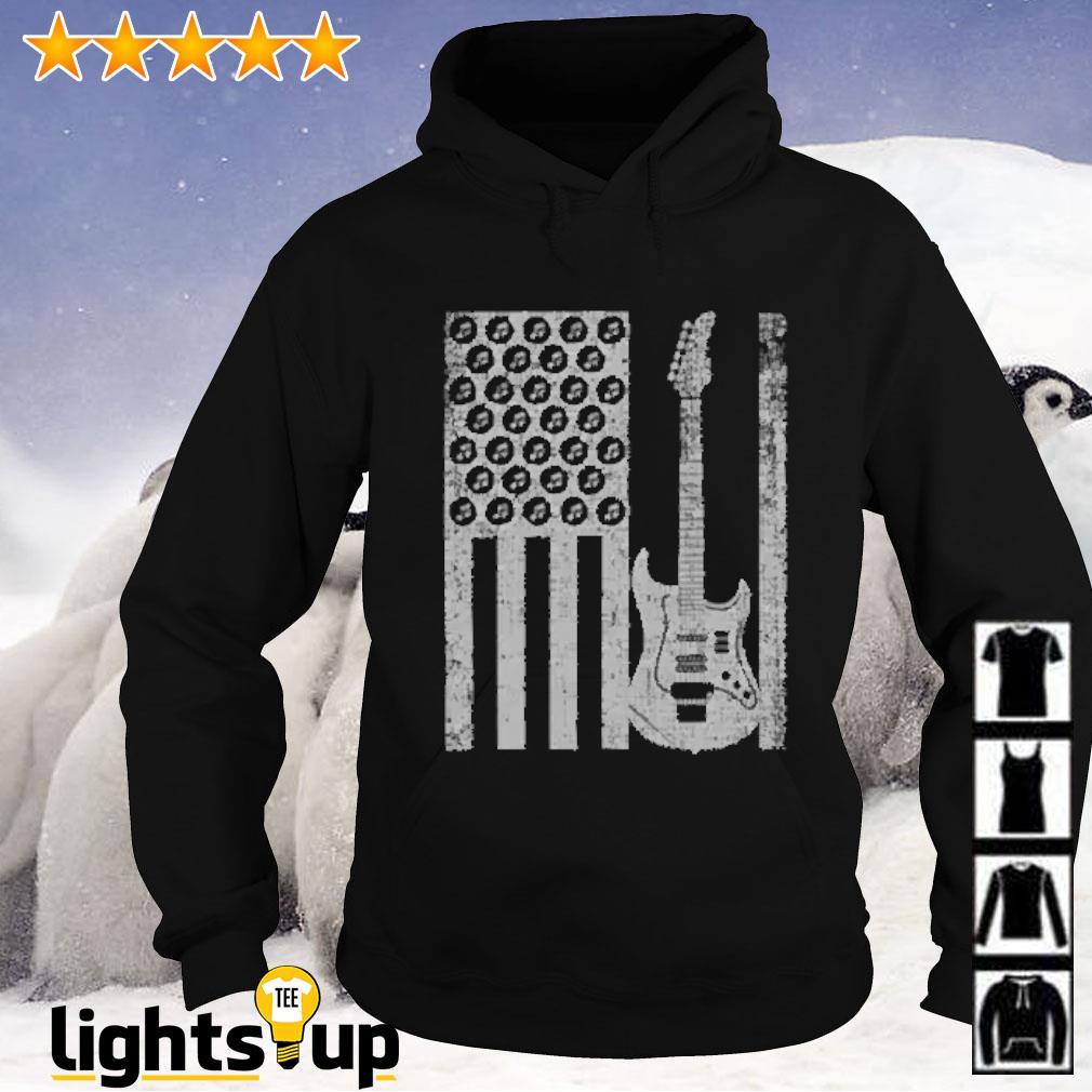 Electric bass guitar player american flag Hoodie