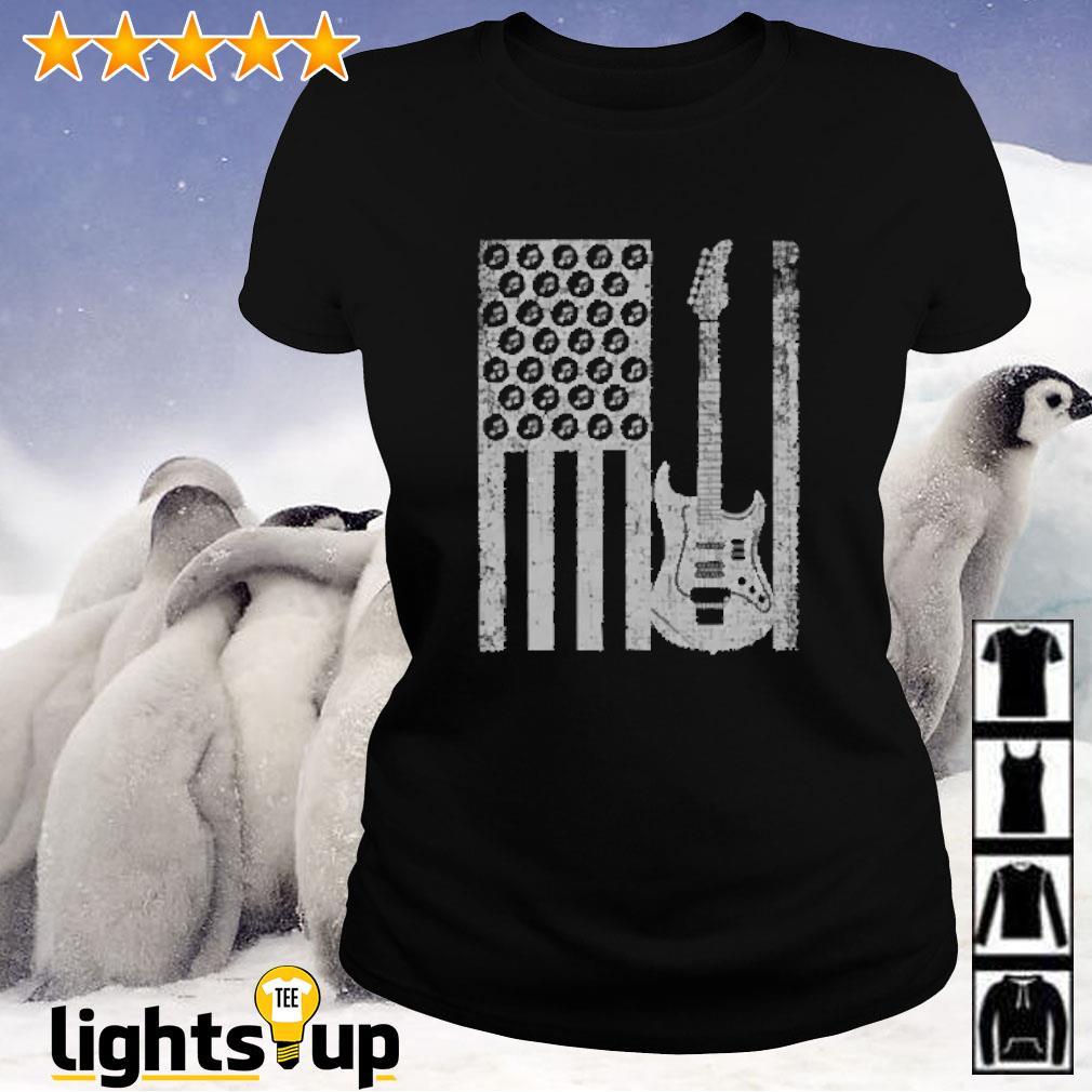 Electric bass guitar player american flag Ladies-tee