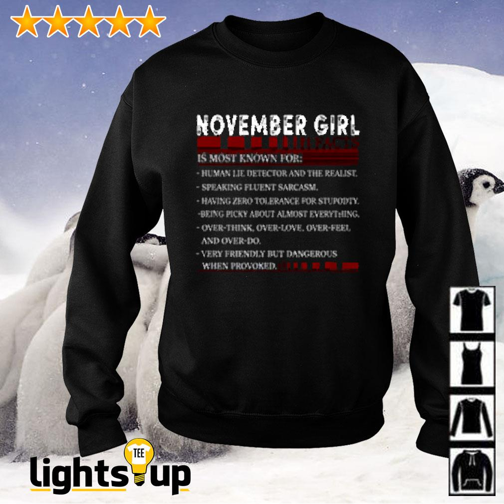 November girl facts is most known for human lie detector and the realist Sweater
